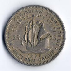 25 центов 1955 Восточно-Карибские штаты - 25 cents 1955 East Caribbean states, из оборота