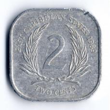 2 цента 1989 Восточно-Карибские штаты - 2 cents 1989 East Caribbean states, из оборота