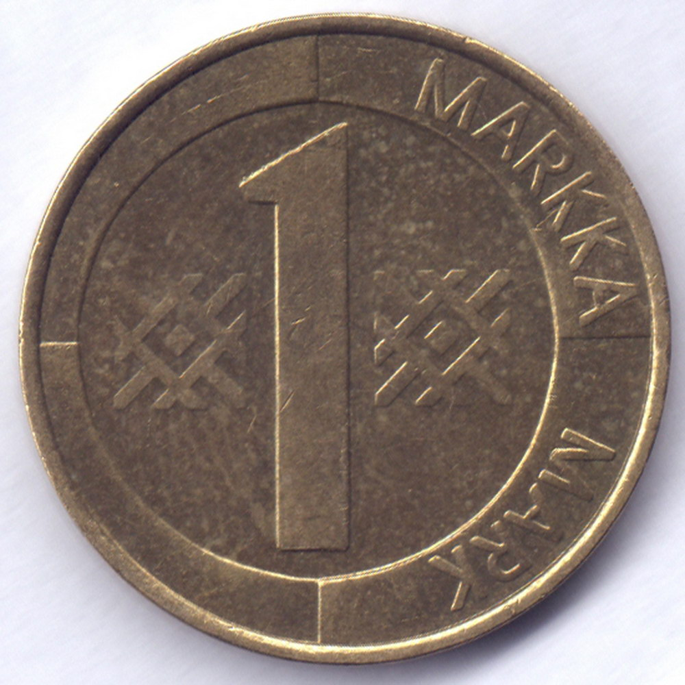 1 марка 1993 Финляндия - 1 markka 1993 Finland, из оборота