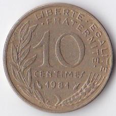 10 сантимов 1981 Франция - 10 centimes 1981 France