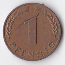 1 пфенниг 1950 Германия - 1 pfennig 1950 Germany, J