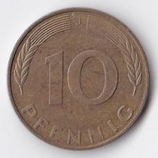 10 пфеннигов 1991 Германия - 10 pfennig 1991 Germany, J