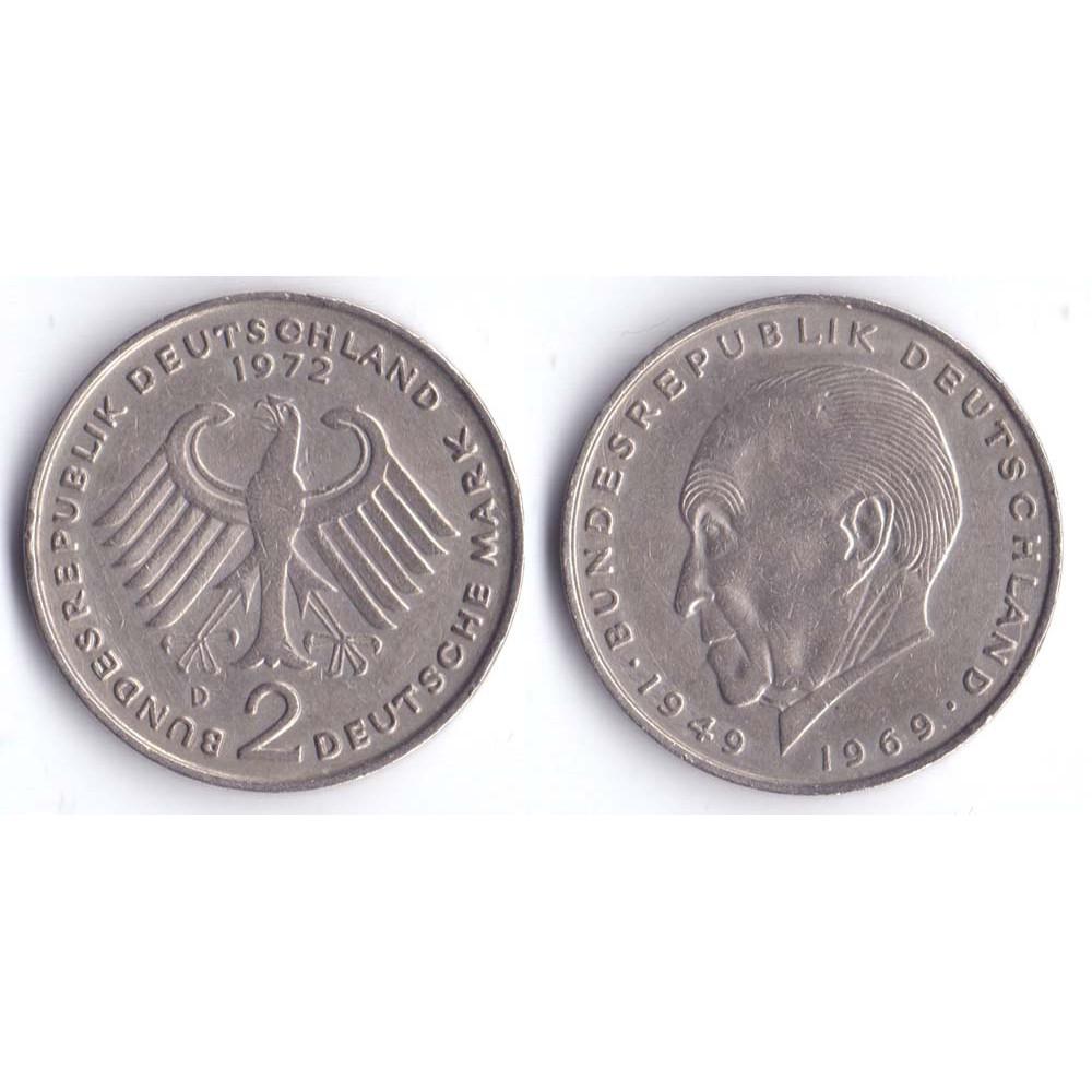 2 mark 1972 D BUNDESREPUBLIK DEUTSCHLAND - 2 марки 1972 D Германия, Конрад Аденауэр, 20 лет Федеративной Республике (1949-1969)