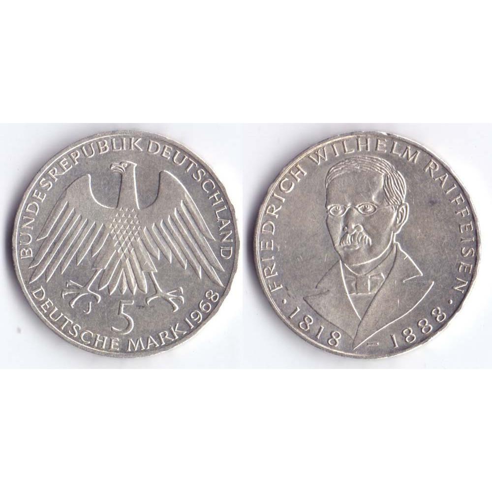 5 mark 1968 J BUNDESREPUBLIK DEUTSCHLAND  - 5 марок 1968 J Германия ФРГ, 150 лет со дня рождения Фридриха Вильгельма Райффейсена
