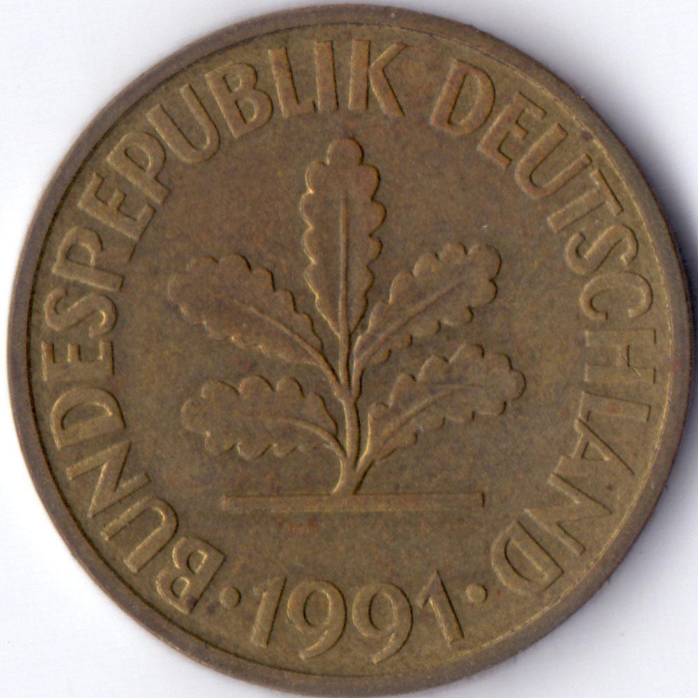 10 пфеннигов 1991 Германия - 10 pfennig 1991 Germany, G, из оборота