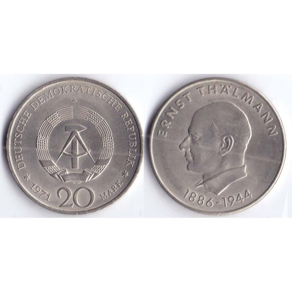 20 mark 1971 A DEUTSCHE DEMOKRATISCHE REPUBLIK - 20 марок 1971 A Германия ГДР, 85 лет со дня рождения Эрнста Тельмана