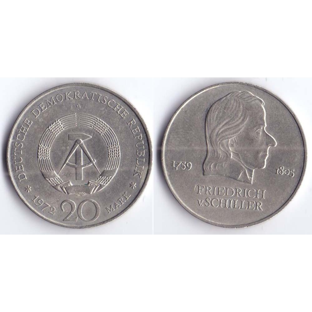20 mark 1972 A DEUTSCHE DEMOKRATISCHE REPUBLIK - 20 марок 1972 A Германия ГДР, Фридрих фон Шиллер