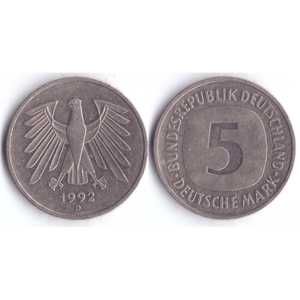 5 марок 1992 Германия- 5 mark 1992 Germany, D, из оборота