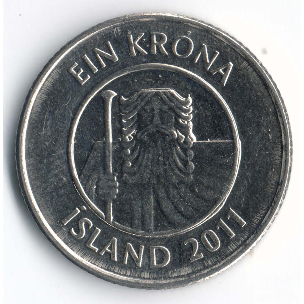 1 крона 2011 Исландия - 1 krona 2011 Island, из оборота