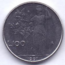 100 лир 1991 Италия - 100 lire 1991 Italy, из оборота