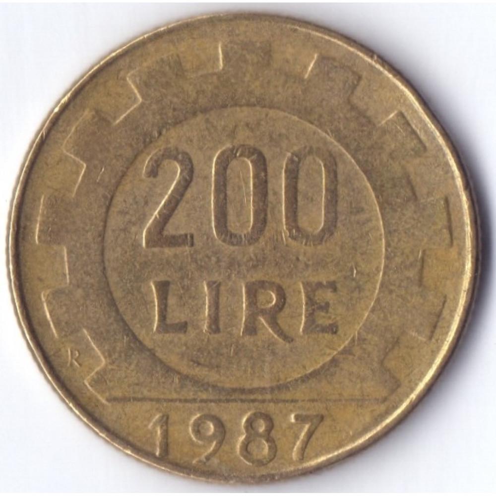 Италия 200 лир 1987