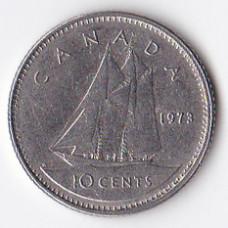 10 центов 1973 Канада - 10 cents 1973 Canada, из оборота