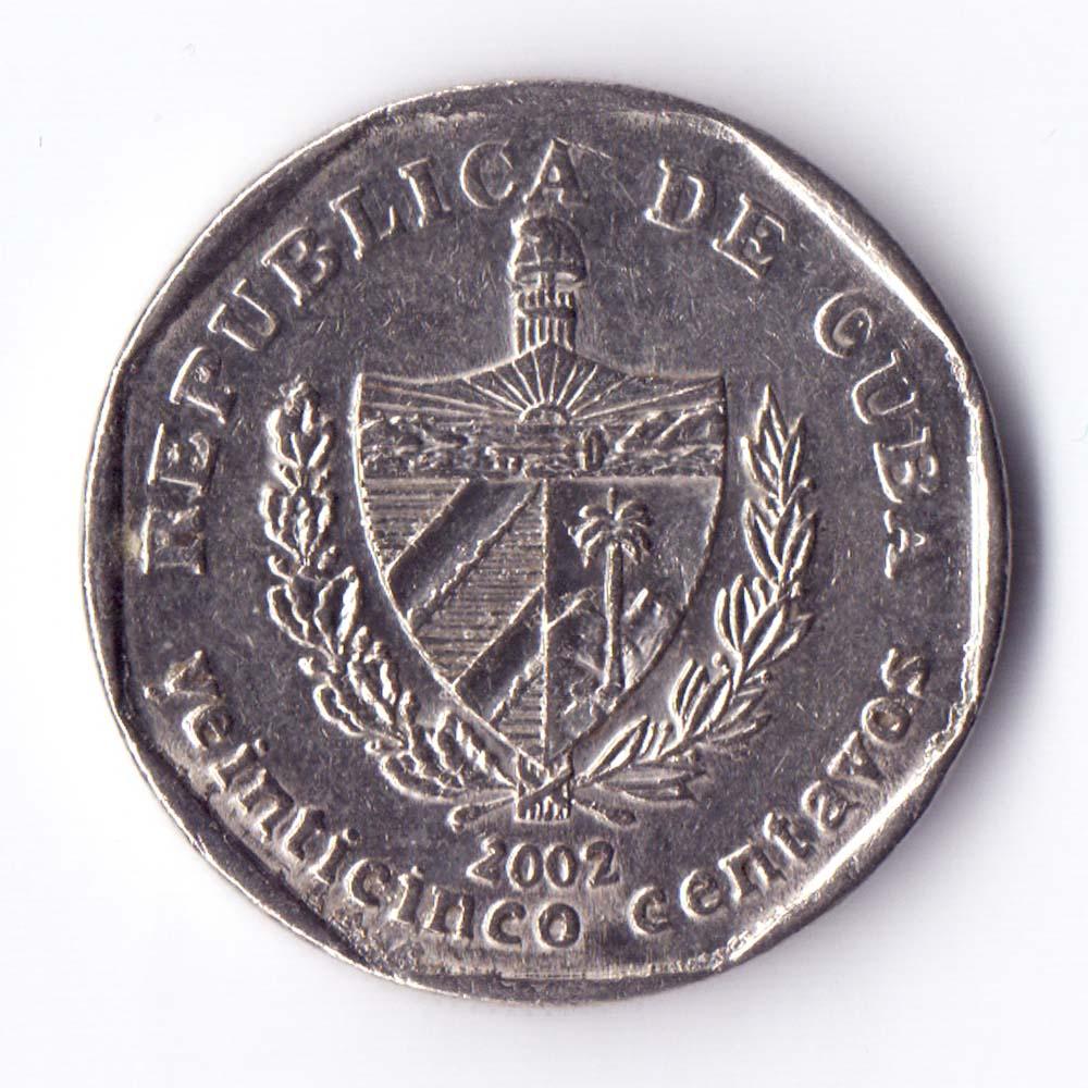 монета 25 сентаво 2002 Куба -  25 centavos 2002 Cuba