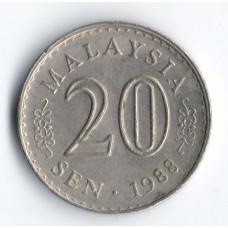 20 сенов 1988 Малайзия - 20 sen 1988 Malaysia, из оборота
