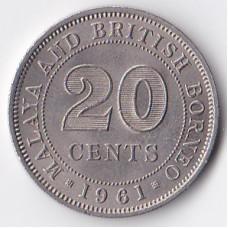 20 центов 1961 Малайская Федерация - 20 cents 1961 Federation of Malaya