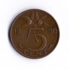 5 центов 1950 Нидерланды - 5 cent 1950 Netherlands