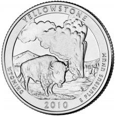 25 центов (квотер) 2010 США Йеллоустон, P - 25 cents (quarter) 2010 USA Yellowstone, P
