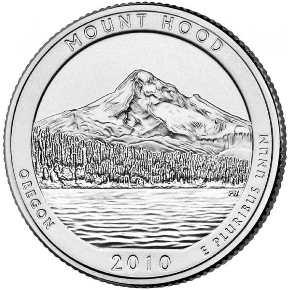 25 центов (квотер) 2010 США Маунт-Худ, P - 25 cents (quarter) 2010 USA Mount Hood, P