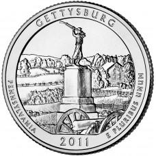 25 центов (квотер) 2011 США Геттисберг, D - 25 cents (quarter) 2011 USA Gettysburg, D