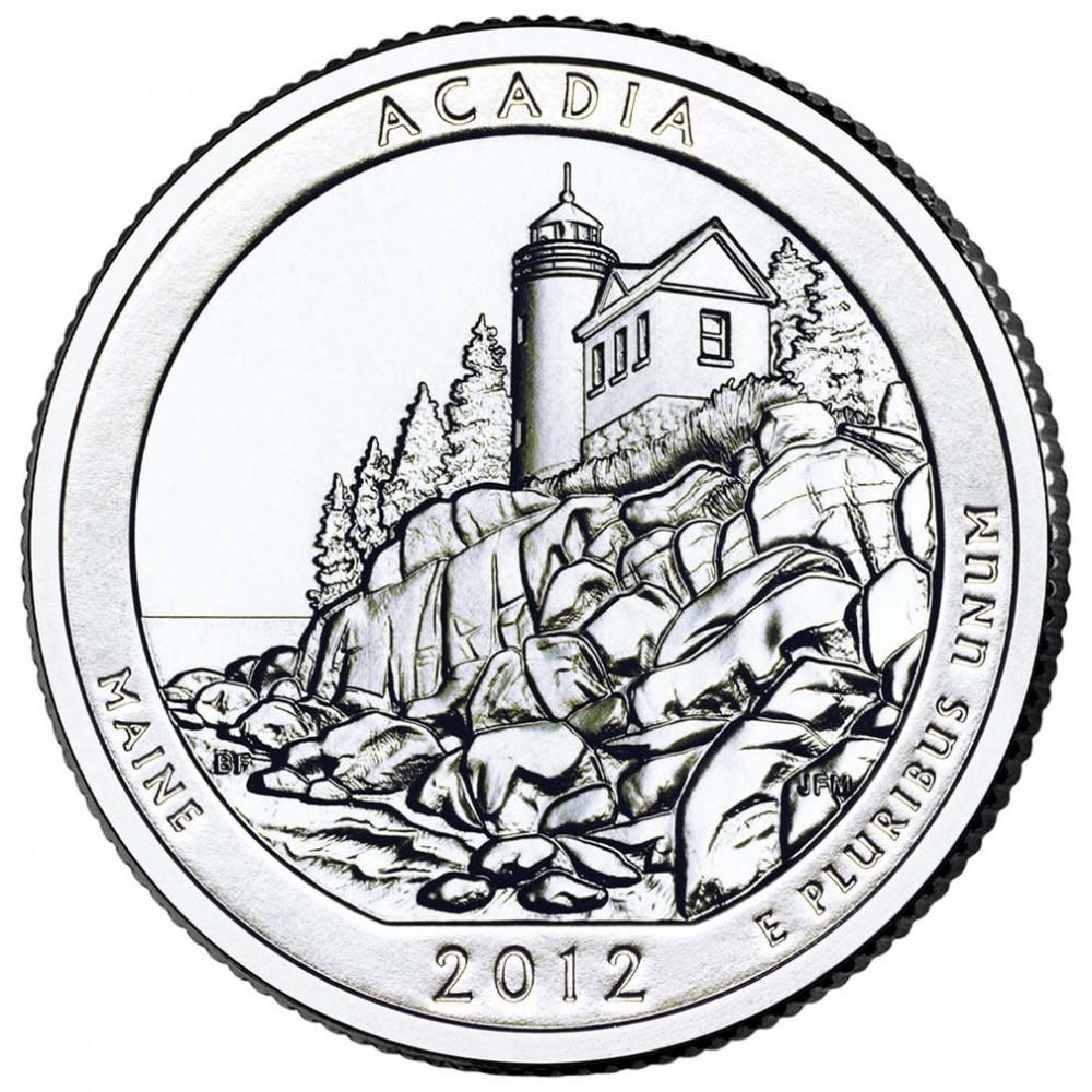25 центов (квотер) 2012 США Акадия, D - 25 cents (quarter) 2012 USA Acadia, D