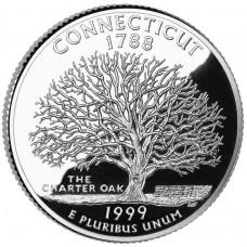 25 центов (квотер) 1999 США Коннектикут, P - 25 cents (quarter) 1999 USA Connecticut, P