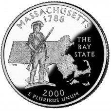 25 центов (квотер) 2000 США Массачусетс, P - 25 cents (quarter) 2000 USA Massachusetts, P