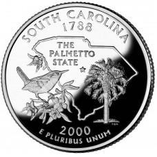 25 центов (квотер) 2000 США Южная Каролина, D - 25 cents (quarter) 2000 USA South Carolina, D