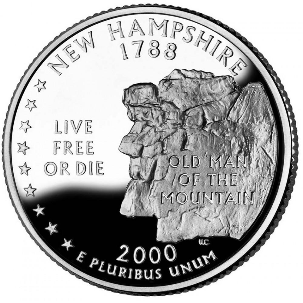 25 центов (квотер) 2000 США Нью-Гэмпшир, D - 25 cents (quarter) 2000 USA New Hampshire, D