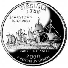 25 центов (квотер) 2000 США Виргиния, P - 25 cents (quarter) 2000 USA Virginia, P