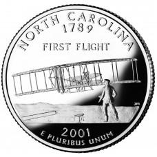 25 центов (квотер) 2001 США Северная Калорина, D - 25 cents (quarter) 2001 USA North Carolina, D