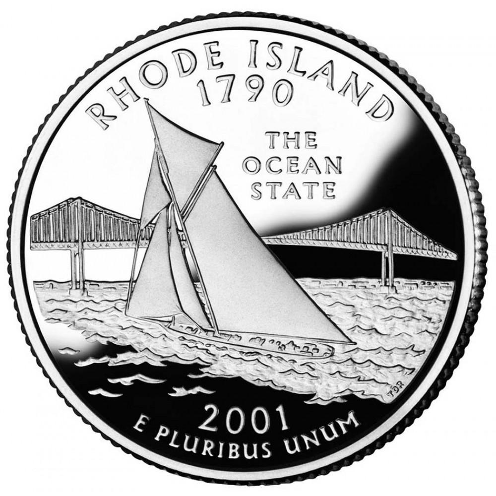 25 центов (квотер) 2001 США Род-Айленд, D - 25 cents (quarter) 2001 USA Rhode Island, D