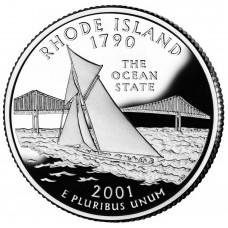 25 центов (квотер) 2001 США Род-Айленд, P - 25 cents (quarter) 2001 USA Rhode Island, P