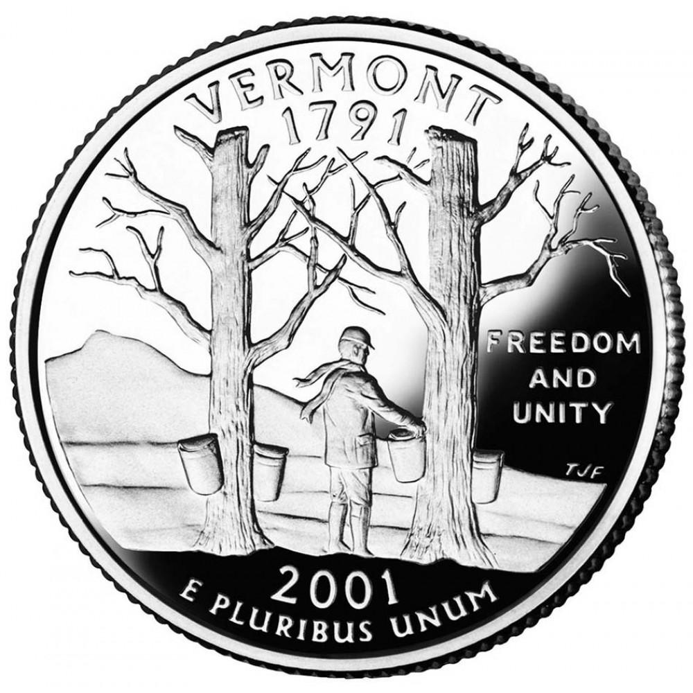 25 центов (квотер) 2001 США Вермонт, P - 25 cents (quarter) 2001 USA Vermont, P