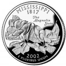 25 центов (квотер) 2002 США Миссисипи, P - 25 cents (quarter) 2002 USA Mississippi, P