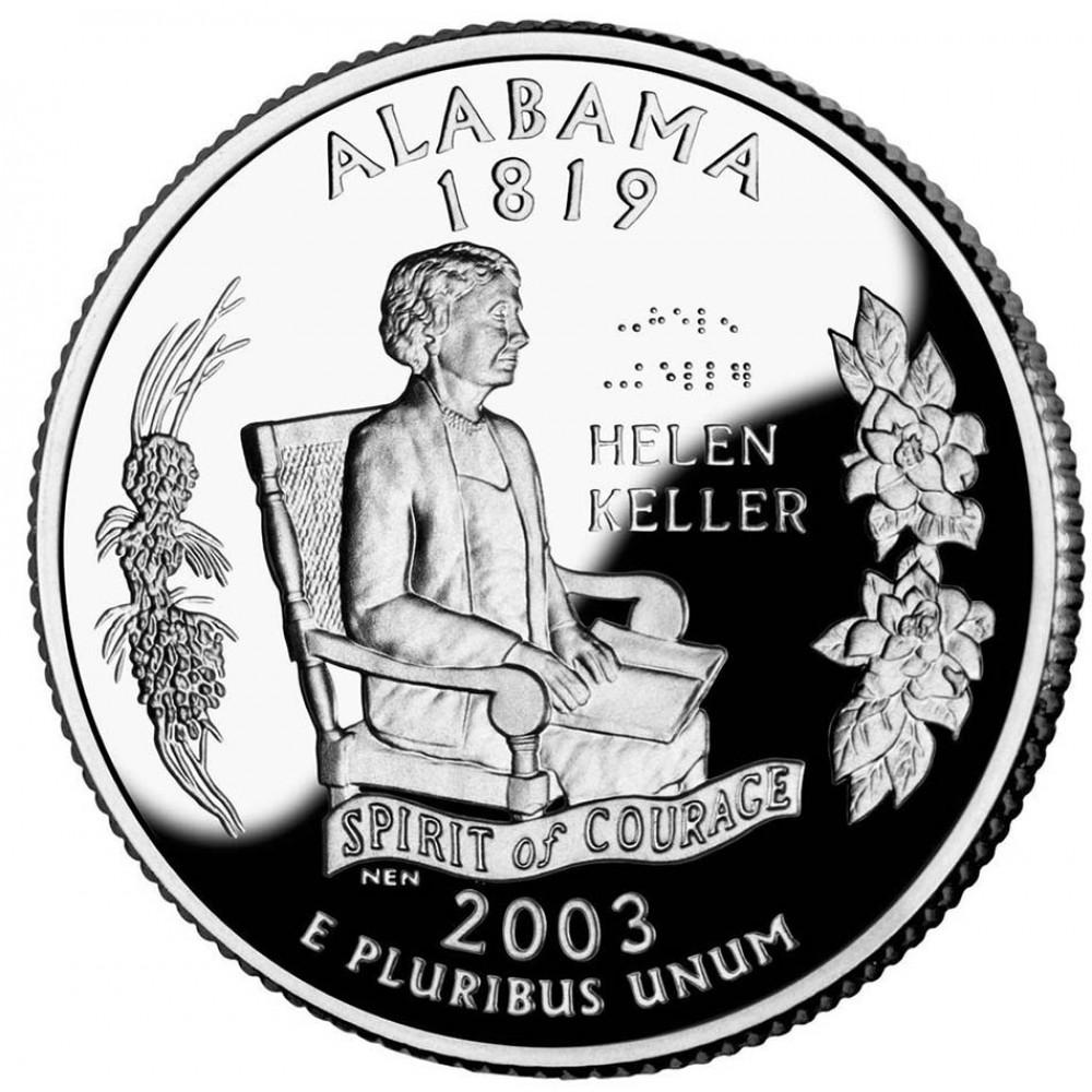 25 центов (квотер) 2003 США Алабама, P - 25 cents (quarter) 2003 USA Alabama, P