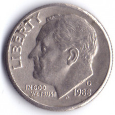 1 дайм (10 центов) 1988 США - 1 dime (10 cents) 1988 USA, D