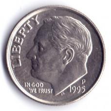 1 дайм (10 центов) 1995 США - 1 dime (10 cents) 1995 USA, P, из оборота