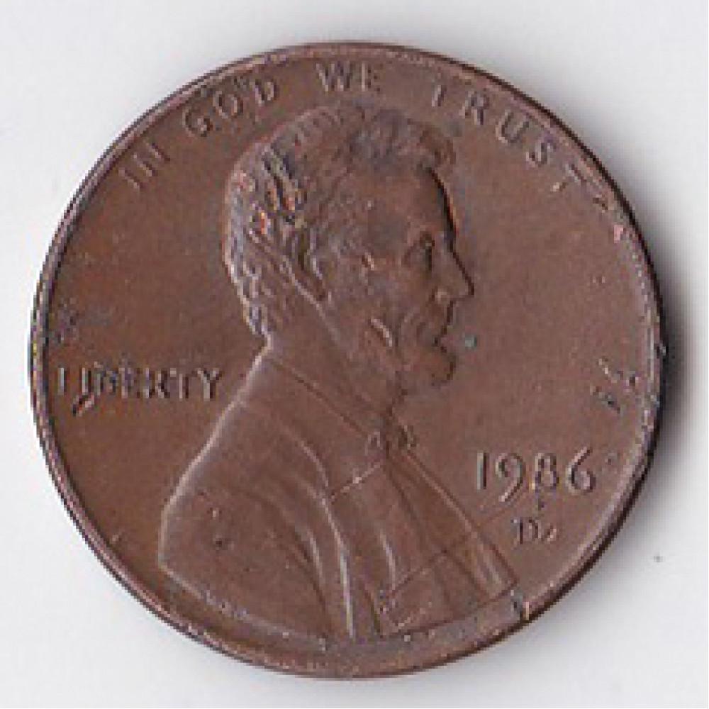 1 цент 1986 США - 1 cent 1986 USA, D