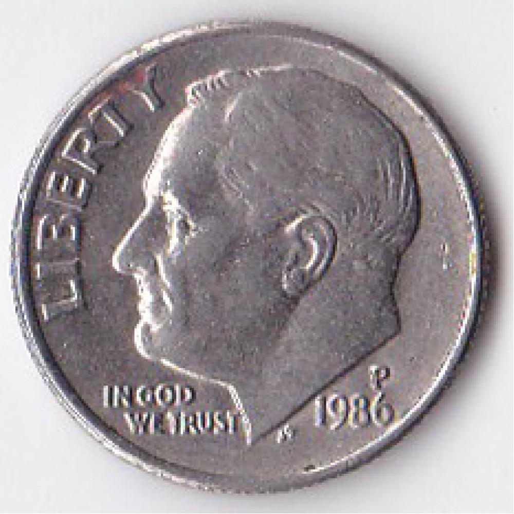 1 дайм (10 центов) 1986 США - 1 dime (10 cents) 1986 USA, P