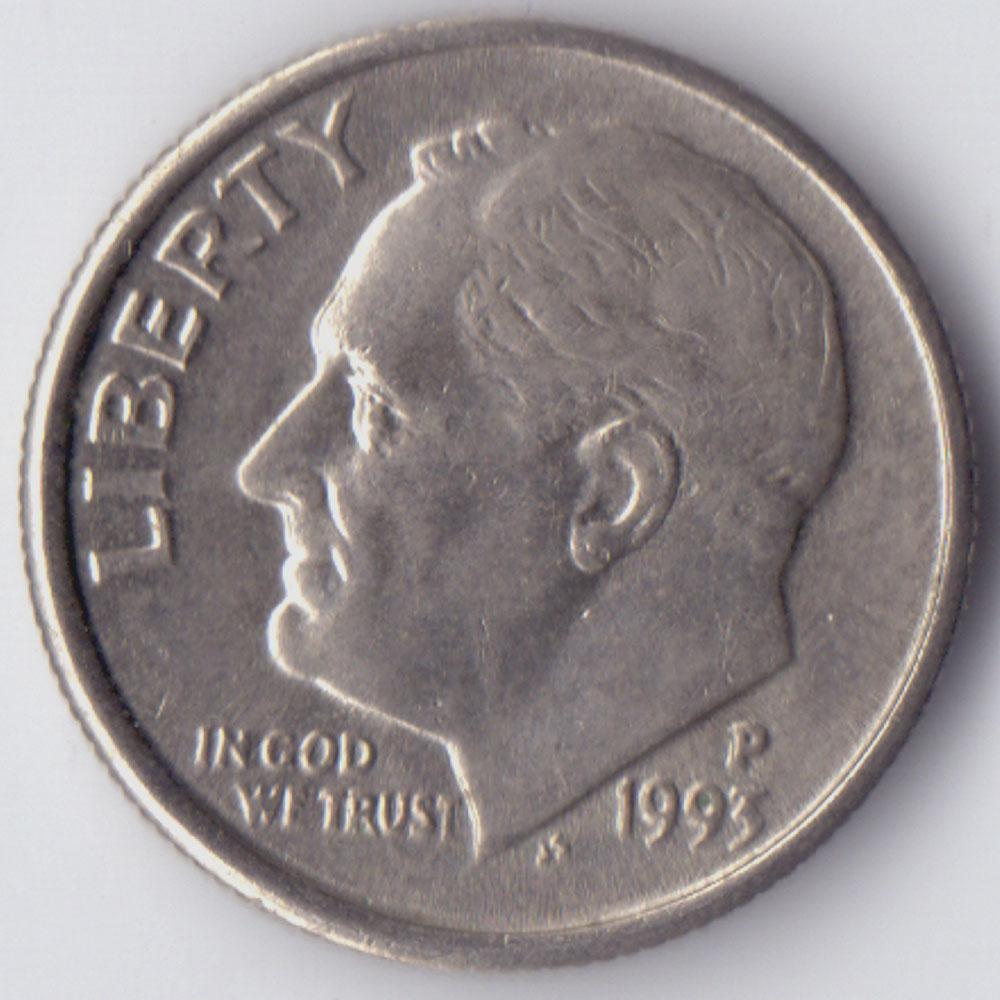 Монета 1 дайм (10 центов) 1993 США - 1 dime (10 cents) 1993 USA, P