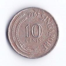 10 центов 1967 Сингапур - 10 cents 1967 Singapore, из оборота