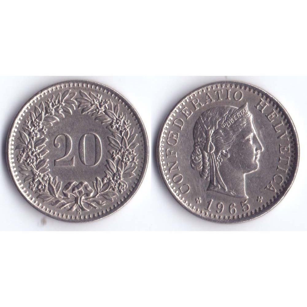 20 rappen 1965 Switzerland - 20 раппен 1965 Швейцария