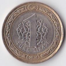1 лира 2014 Турция - 1 lira 2014 Turkey, из оборота