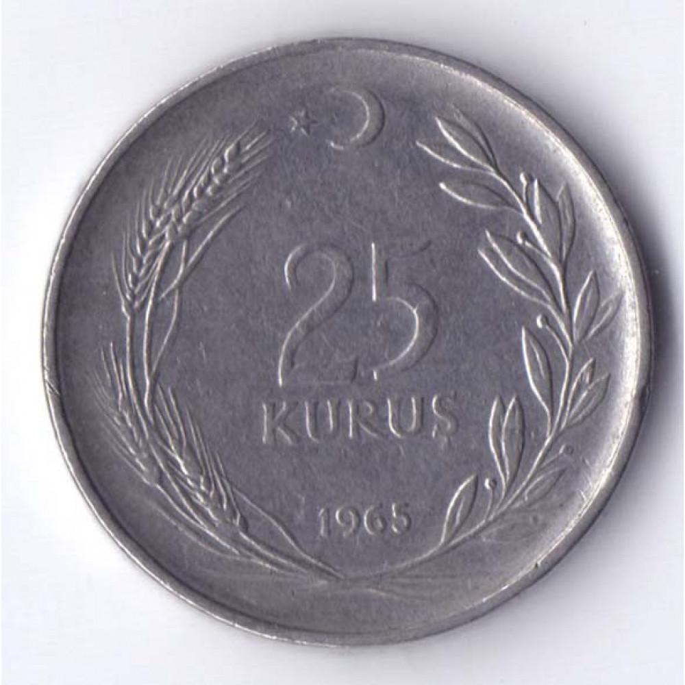 25 курушей 1965 Турция - 25 kurus 1965 Turkey, из оборота