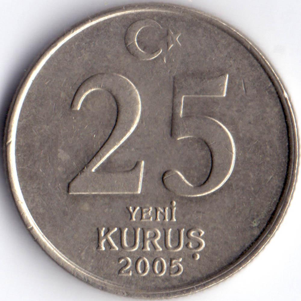 25 новых куруш 2005 Турция - 25 new kurush 2005 Turkey, из оборота