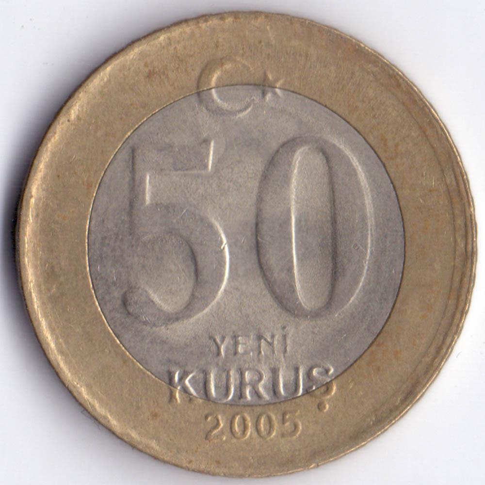 50 новых куруш 2005 Турция - 50 new kurush 2005 Turkey, из оборота