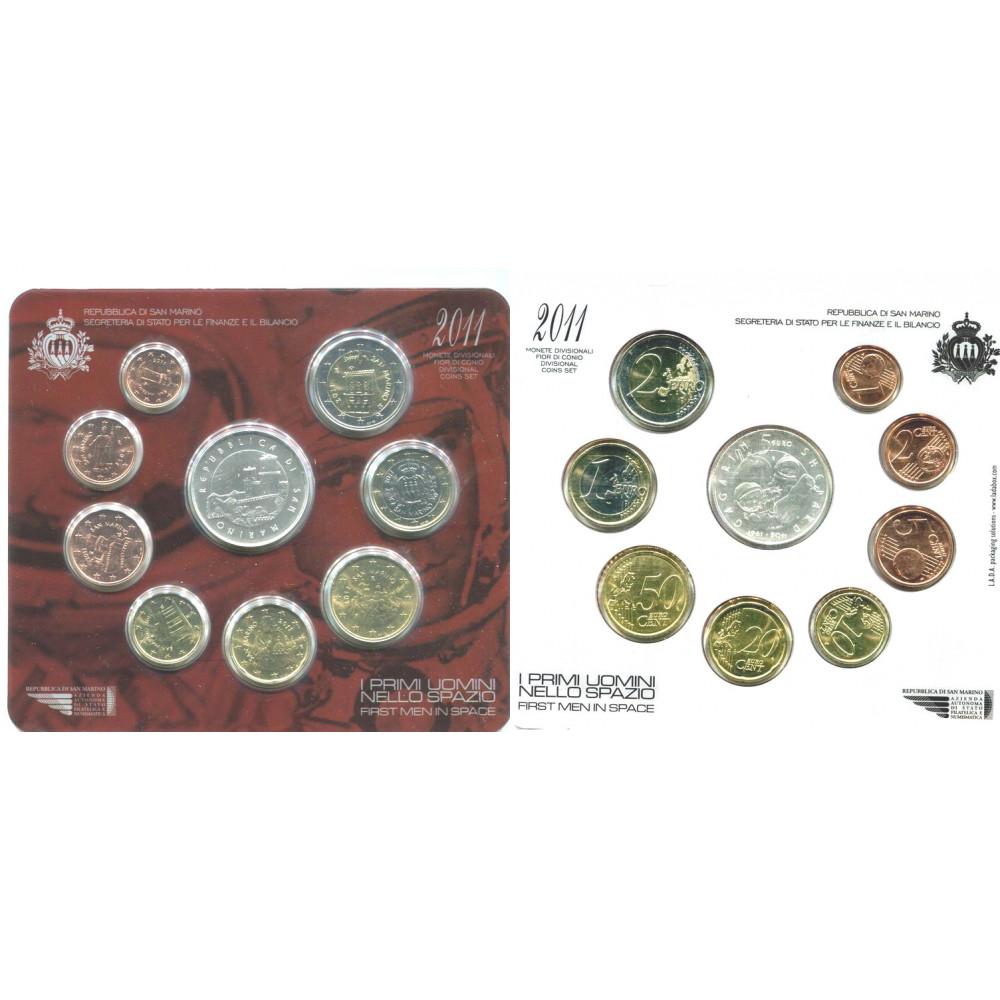 САН-МАРИНО. Ю.А. Гагарин. Первый человек в космосе. Набор евро-монет 2011 г в буклете. + серебряные 5 евро