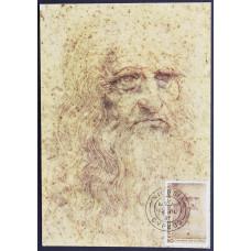 Открытка (картмаксимум) - Леонардо да Винчи - Автопортрет. Кипр