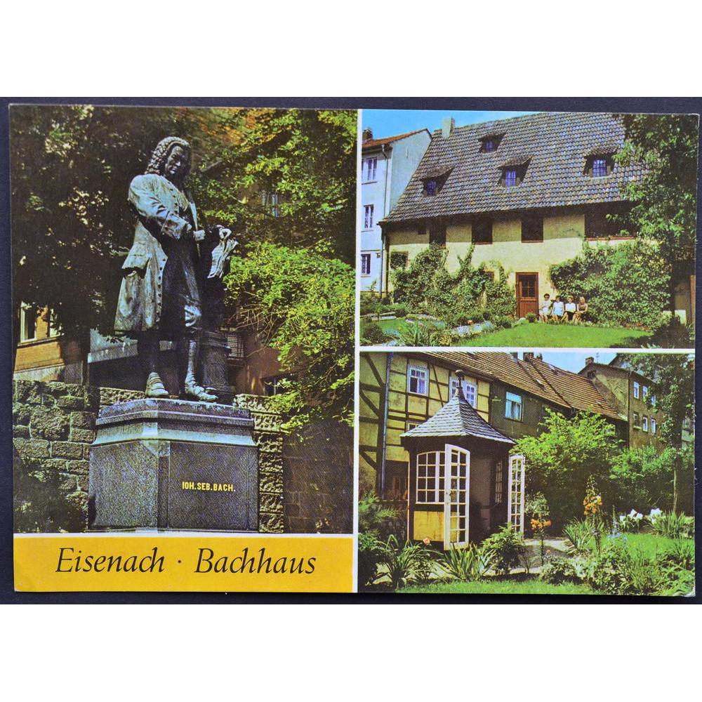 Открытка - Eisenach Bachhaus. Айзенах. Памятник Баху. Германия