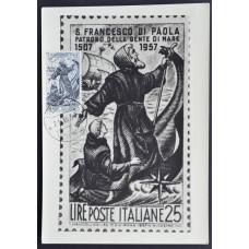 Открытка (картмаксимум) - 450-летие со дня смерти Святого Франциска Паолского, Италия